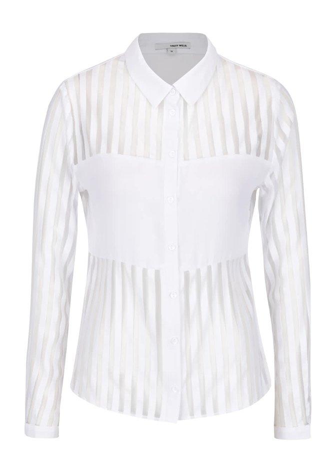 Bílá košile s průsvitnými pruhy TALLY WEiJL