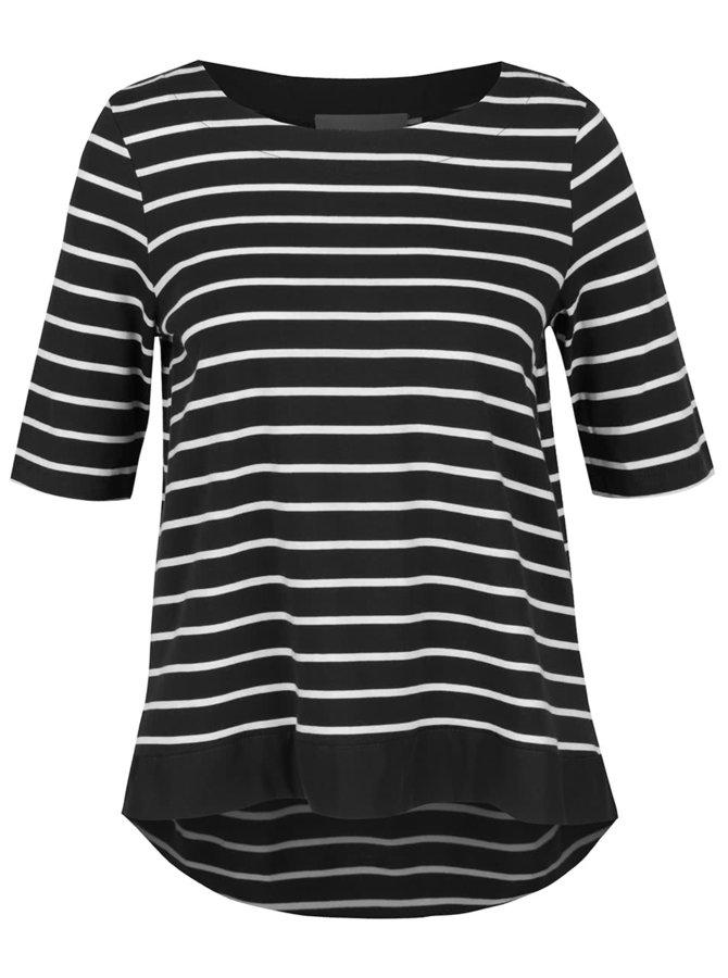 Bílo-černé pruhované tričko s 3/4 rukávy  VERO MODA Sui