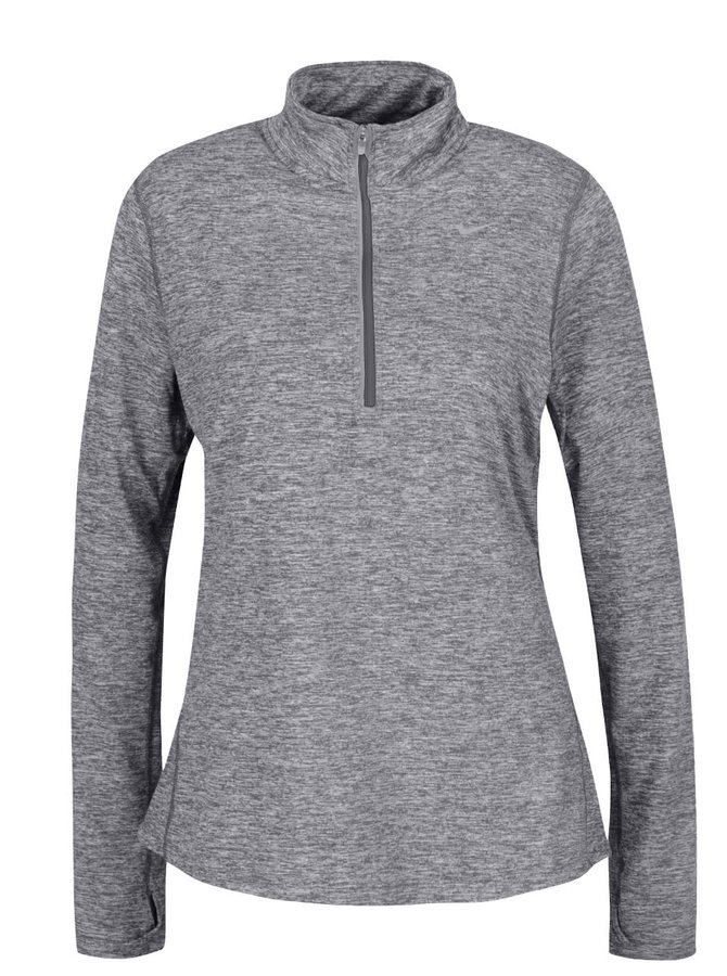 Bluză sport gri Nike Dry Element cu guler înalt și model discret