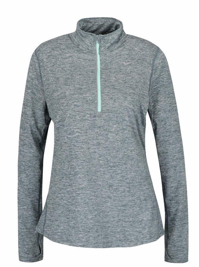 Bluză sport verde Nike Dry Element cu guler înalt și model discret pentru femei