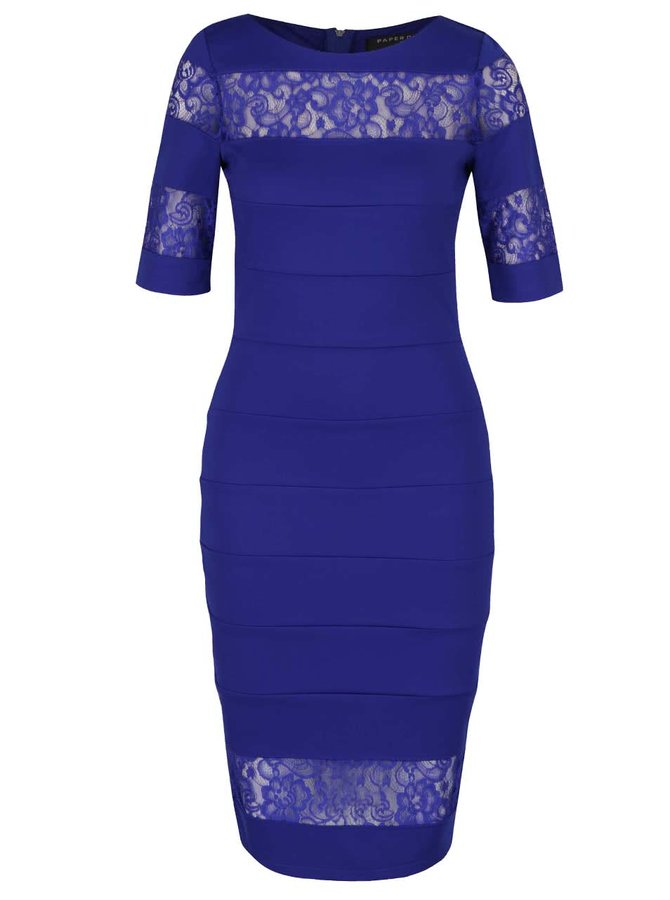Modré šaty s průsvitnými krajkovými pruhy Paper Dolls