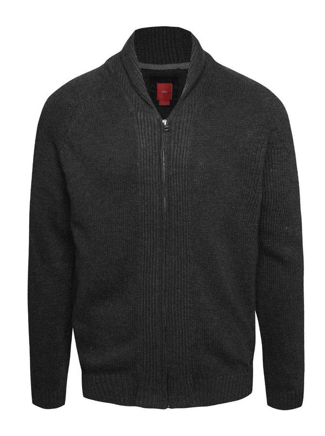 Tmavě šedý pánský svetr na zip s.Oliver
