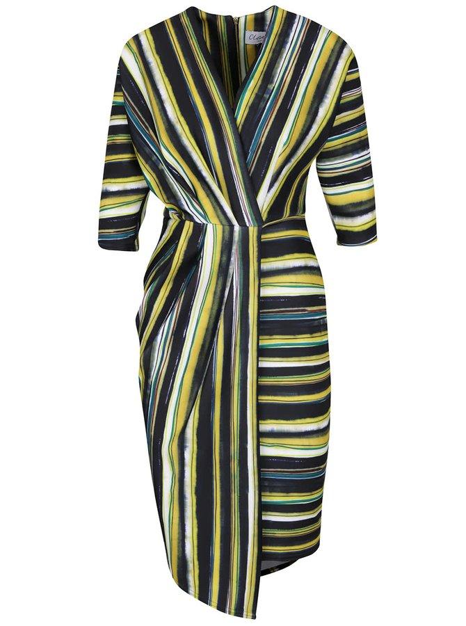 Žlto-zelené pruhované šaty s prekladaným výstrihom a 3/4 rukávmi Closet
