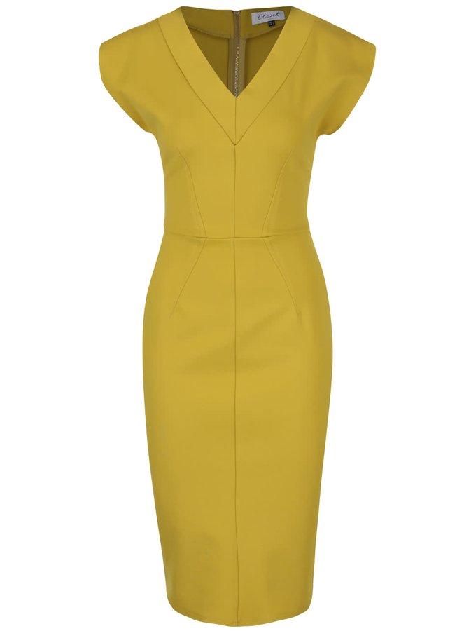 Zelenožluté pouzdrové šaty s véčkovým výstřihem Closet