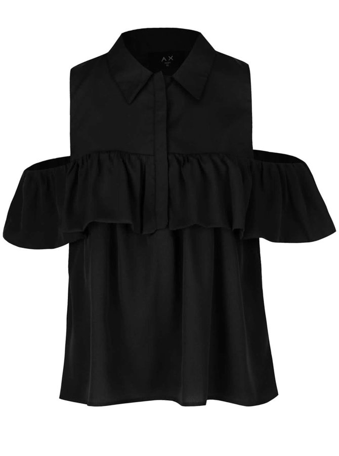 Černá halenka s límečkem, volány a průstřihy na ramenou AX Paris
