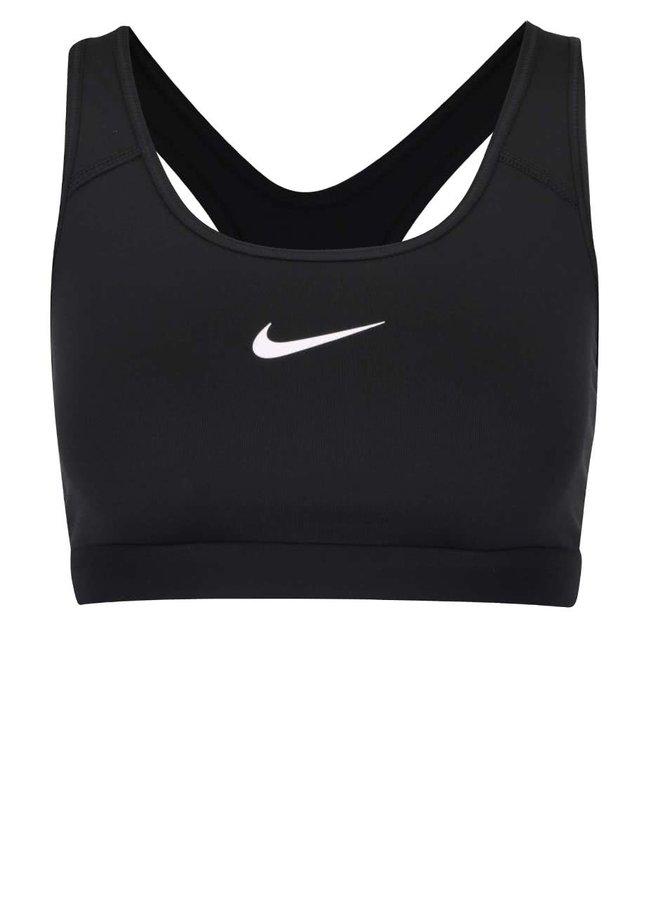 Bustieră neagră Nike Pro Classic cu print cu logo