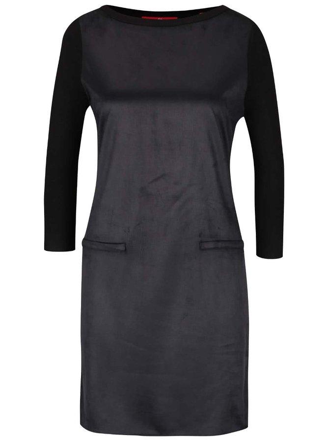 Čierne šaty v semišovej úprave s 3/4 rukávmi s.Oliver