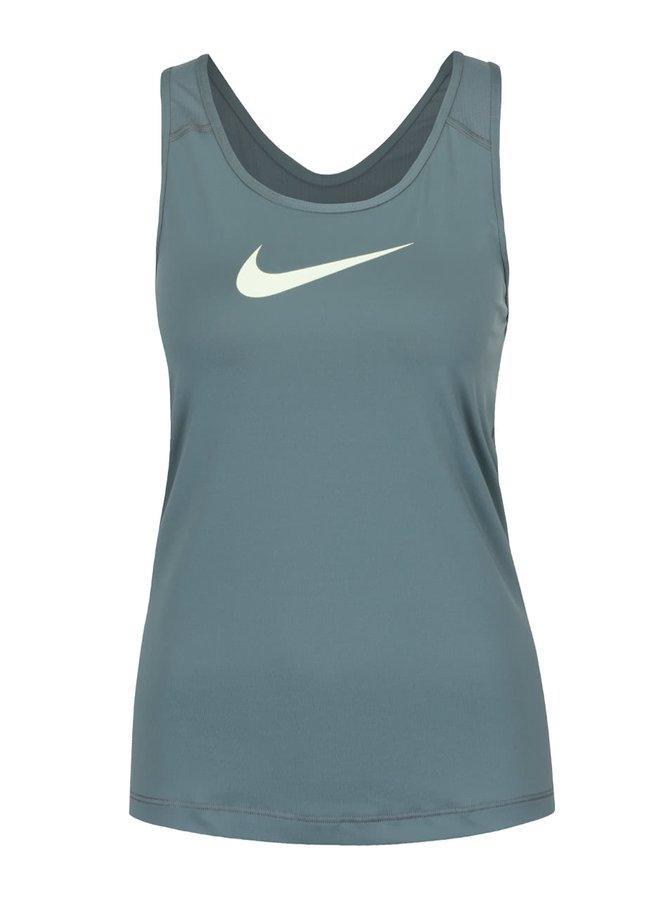 Top verde pentru antrenament Nike Pro Tank cu print cu logo pentru femei