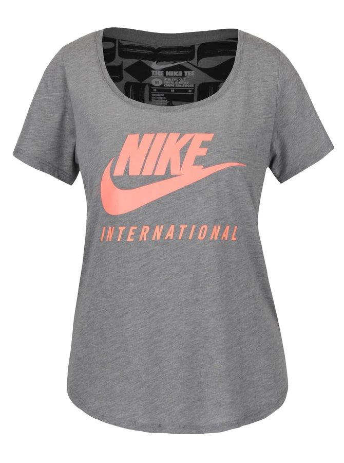 Šedo-oranžové dámské tričko s krátkým rukávem Nike