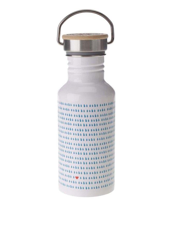 Biela fľaša na vodu s potlačou modrých kvapôčok Folklore