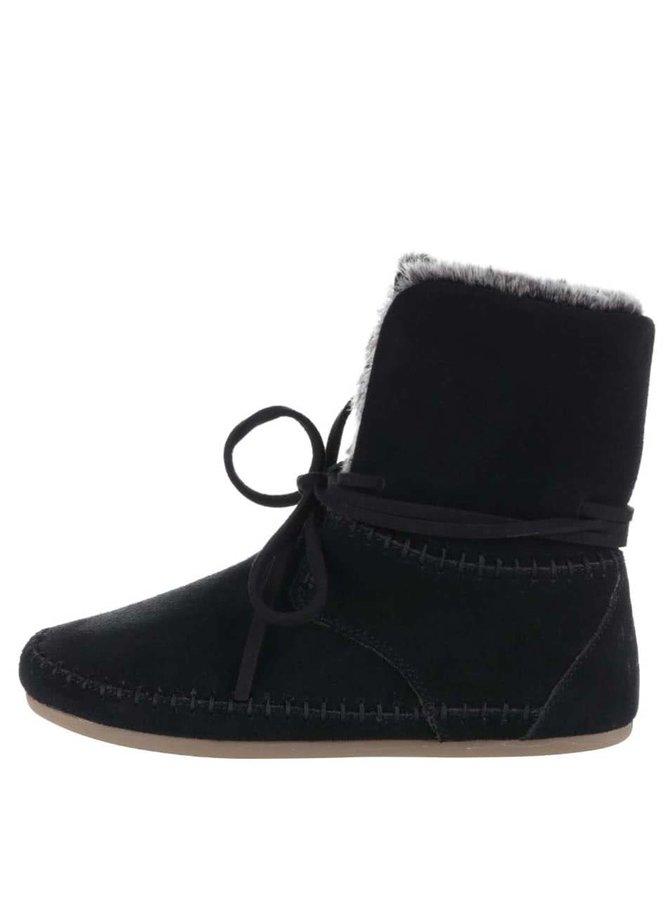 Čierne dámske semišové členkové topánky s umelým kožúškom Toms