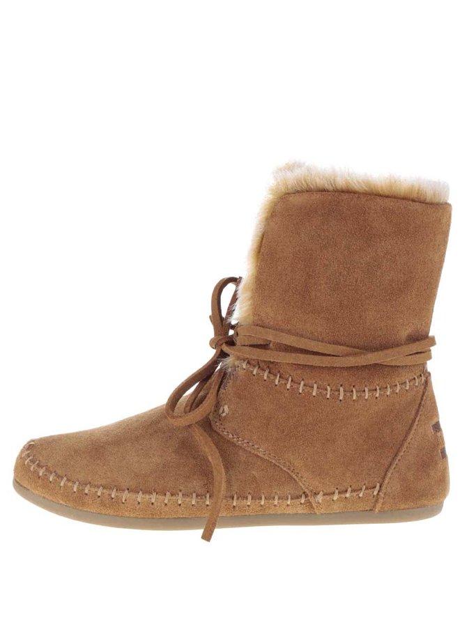 Hnedé dámske semišové členkové topánky s umelým kožúškom Toms