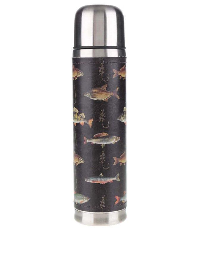Černá termoska s potiskem ryb Hook line & Sinker