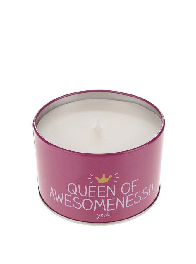 Tyrkysově-růžová svíčka v plechové krabičce s vůní malin Happy Jackson Queen of Awesomeness
