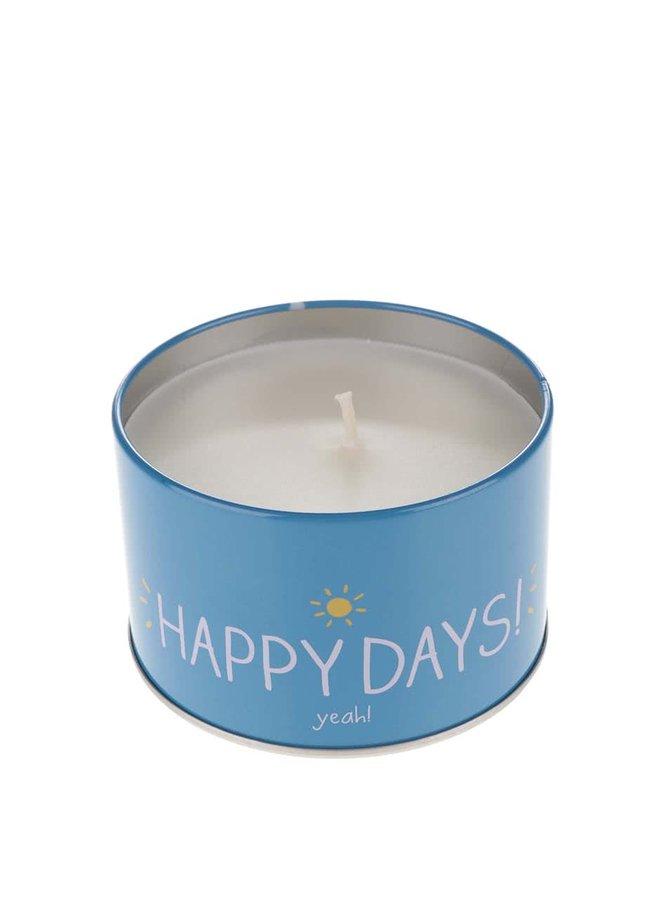 Žlto-modrá sviečka v plechovej krabičke s vôňou vanilky Happy Jackson Happy days