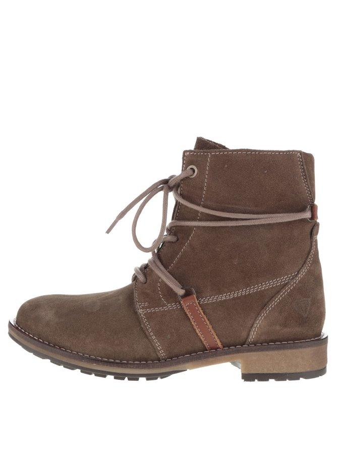 Tmavě hnědé semišové kotníkové boty se šněrováním Tamaris