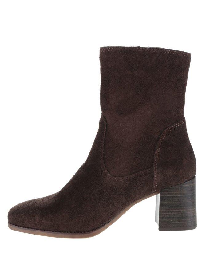 Tmavě hnědé semišové kotníkové boty Tamaris