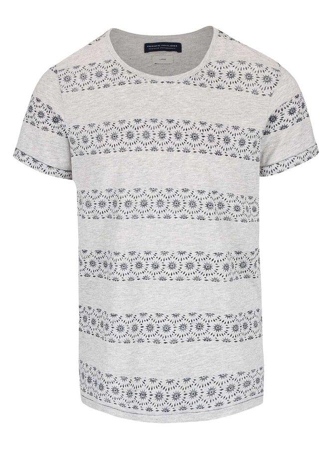 Šedé triko s modrými vzorovanými pruhy Jack & Jones Baltimore