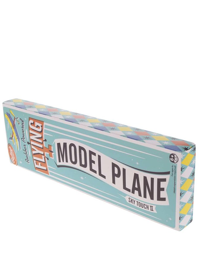Bílo-modrý model letadla Ridley's Flying Plane