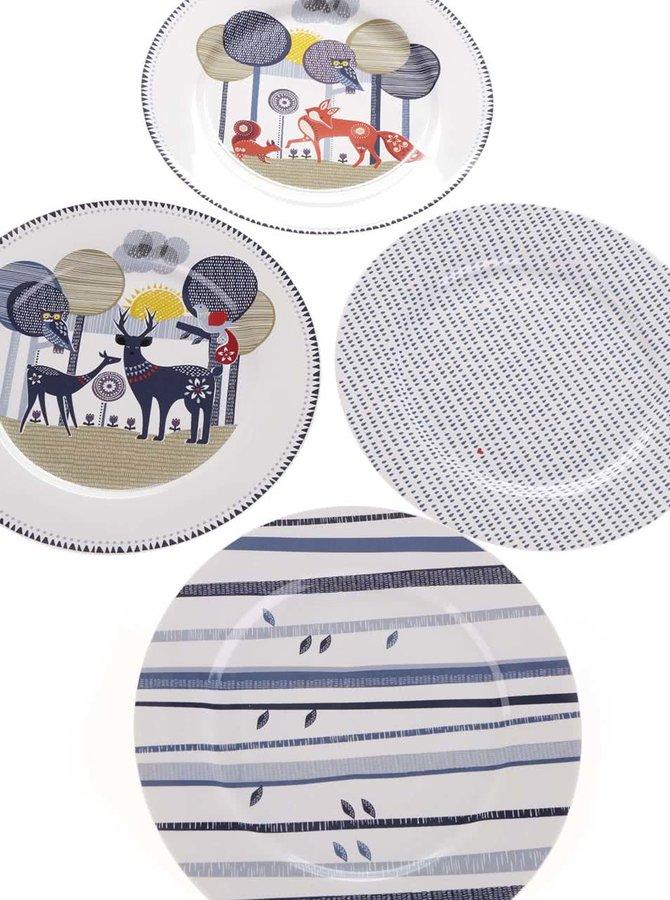 Set čtyř  porcelánových talířů s potiskem Folklore