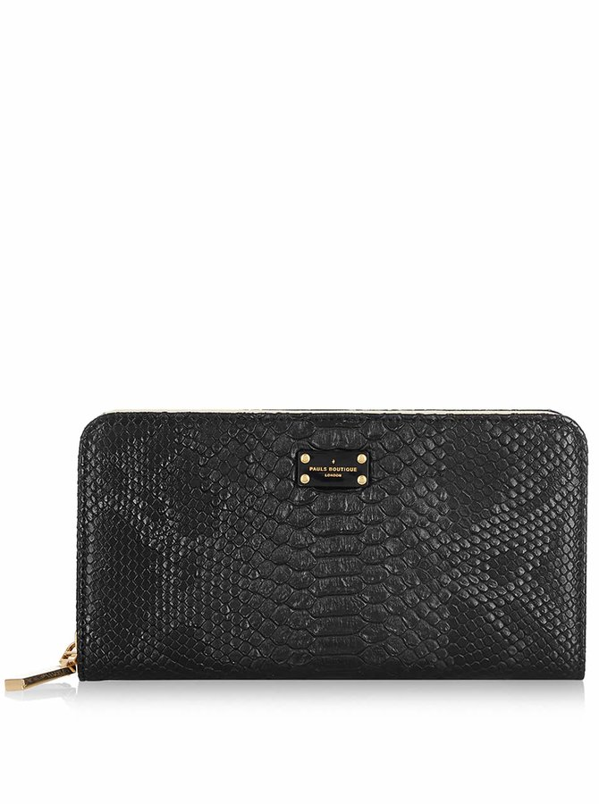 Černá peněženka s hadím vzorem Paul's Boutique Carla