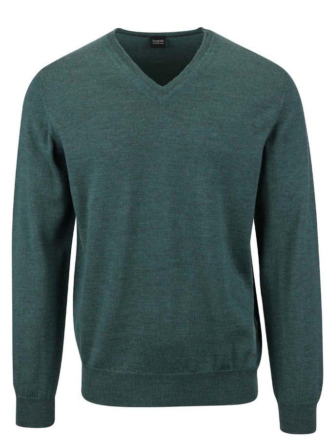 Tmavě zelený pánský vlněný svetr bugatti