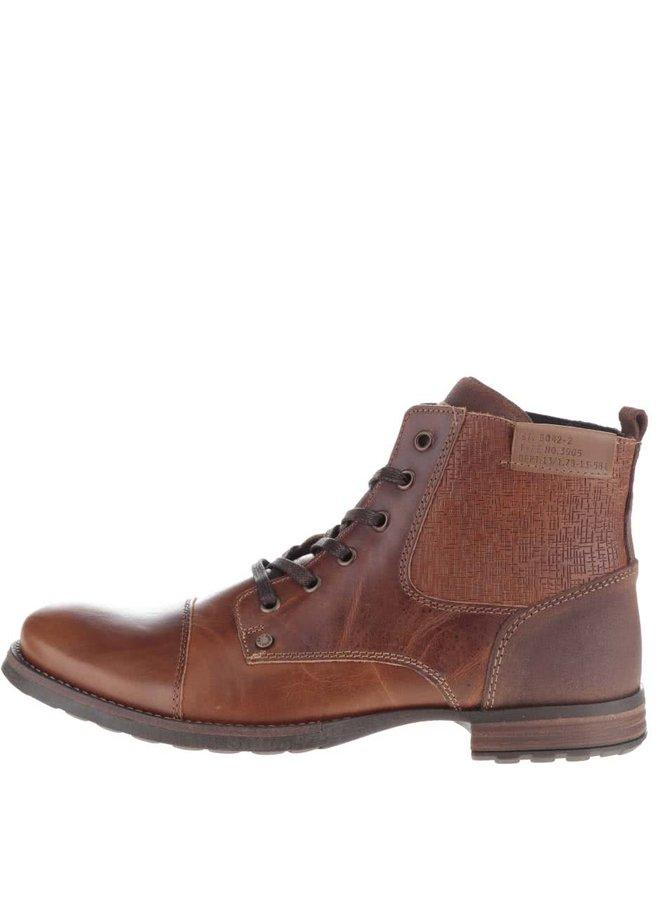 Hnedé pánske členkové topánky so vzorom Bullboxer