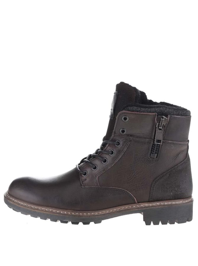 Tmavě hnědé pánské kožené kotníkové boty se zipem Bullboxer