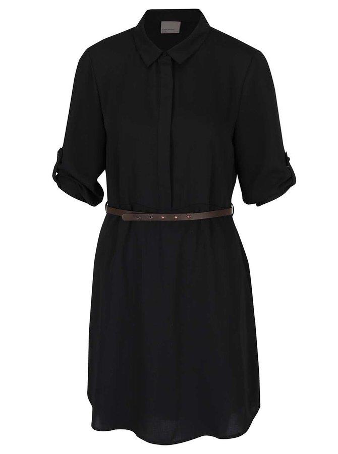 Černé košilové šaty s páskem VERO MODA Adele