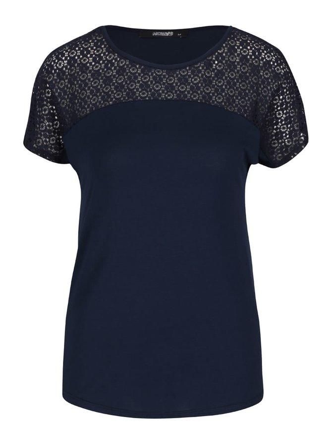 Tmavě modré tričko s krajkovým sedlem Haily´s Livia
