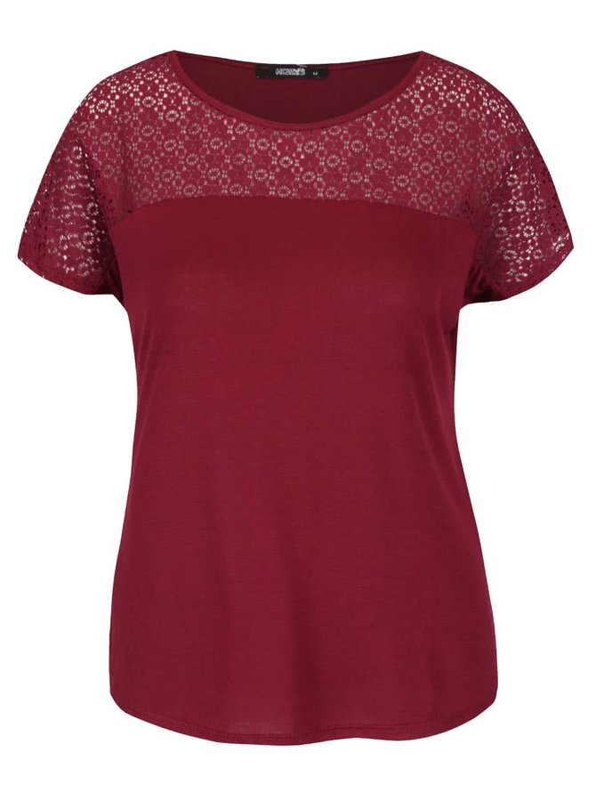 Vínové tričko s čipkovaným sedlom Haily´s Livia