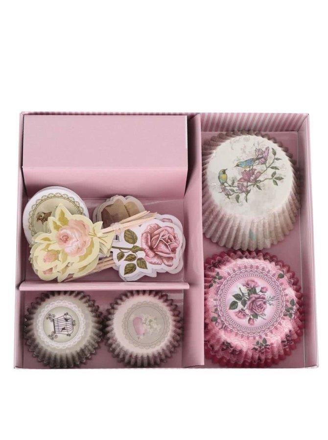 Set růžových papírových košíčků na pečení s motivem květin a ptáčků Dakls