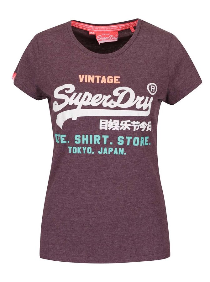 Fialové dámské tričko s potiskem Superdry