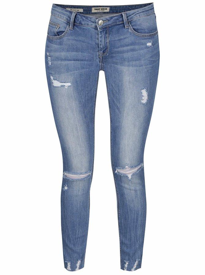 Světle modré skinny džíny s dírami na kolenou TALLY WEiJL