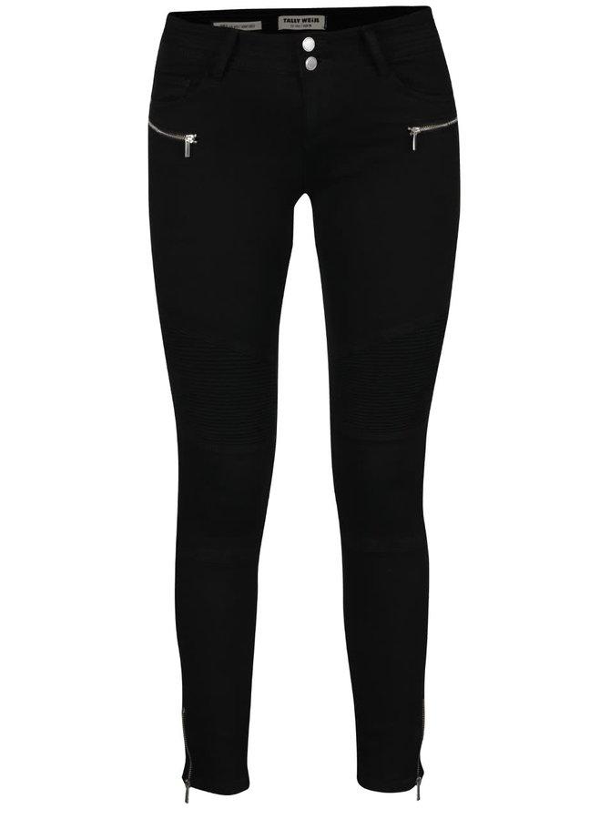 Černé skinny džíny s ozdobnými zipy TALLY WEiJL