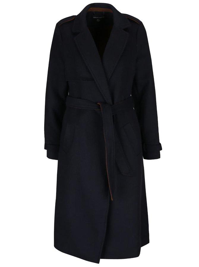 Tmavě modrý dlouhý kabát s detaily Dorothy Perkins
