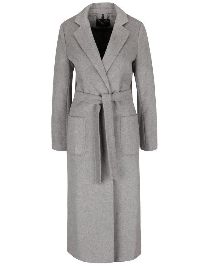 Sivý dlhý kabát s opaskom, vreckami a rozparkami Dorothy Perkins