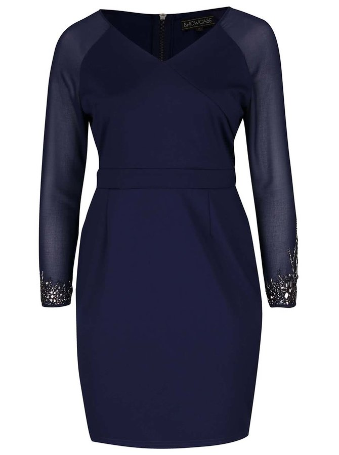 Tmavě modré šaty s průhlednými rukávy Dorothy Perkins Curve