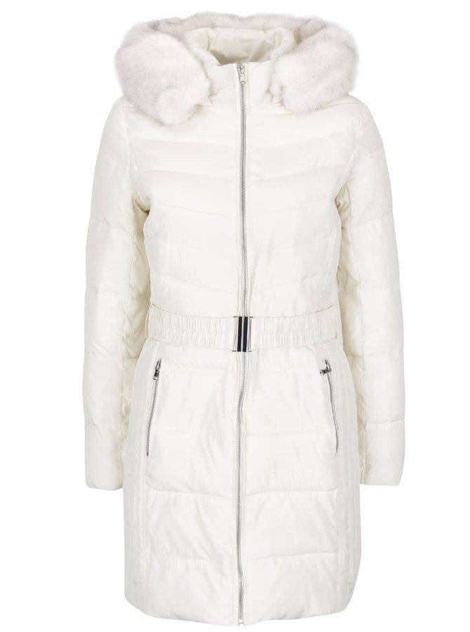 Krémový prešívaný kabát s umelým kožúškom a opaskom Dorothy Perkins