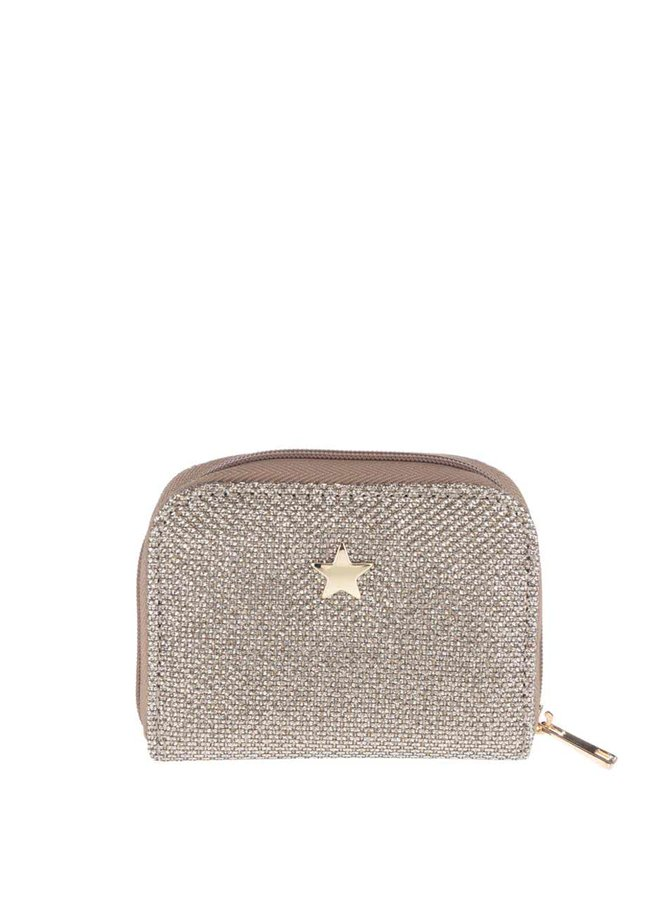 Trblietavá peňaženka v zlatej farbe Dorothy Perkins