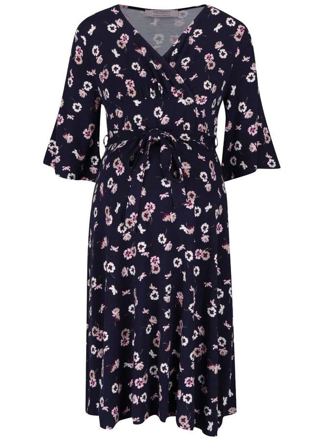 Modré těhotenské šaty s květinovým potiskem Dorothy Perkins Maternity