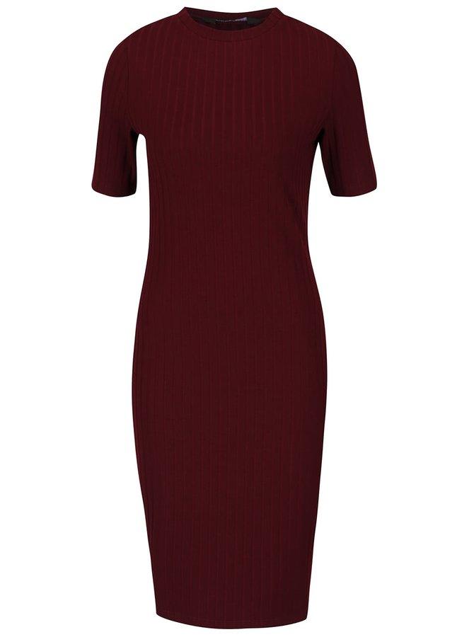 Vínové žebrované šaty Dorothy Perkins