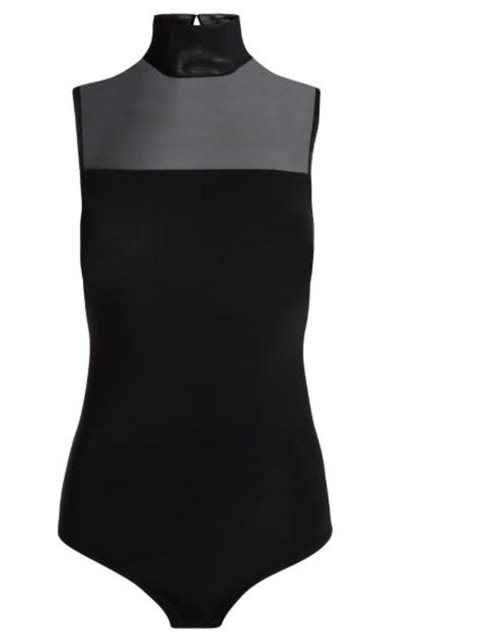 Černé elastické body s průsvitným sedlem Pieces Diva