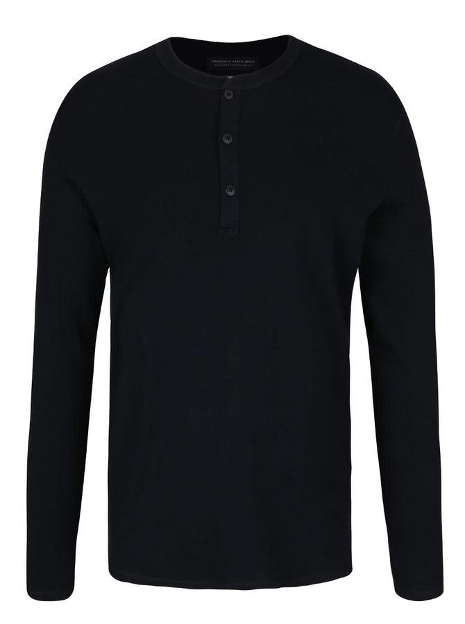 Tmavě modré triko s knoflíky a dlouhým rukávem Jack & Jones Henley