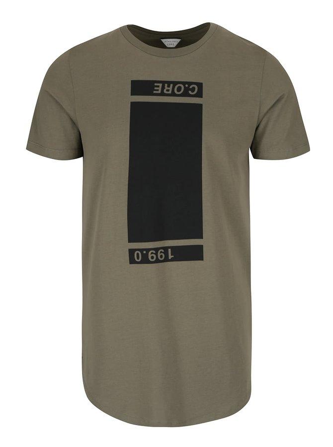 Khaki triko s potiskem Jack & Jones Testament