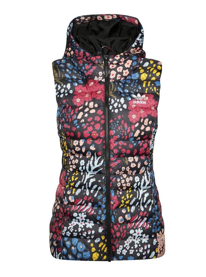 Černá dámská prošívaná vesta s barevým potiskem adidas Originals