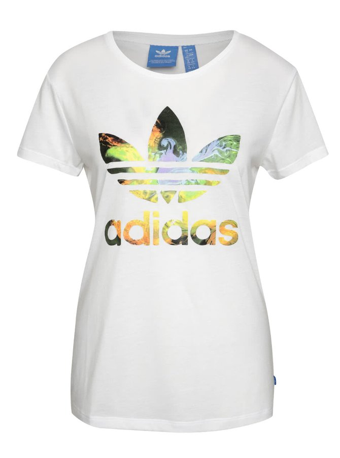 Biele dámske tričko s farebným logom adidas Originals