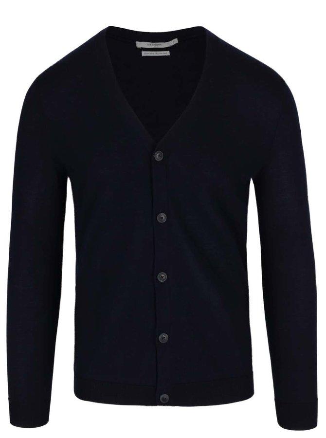 Tmavě modrý lehký cardigan z merino vlny Jack & Jones Mark