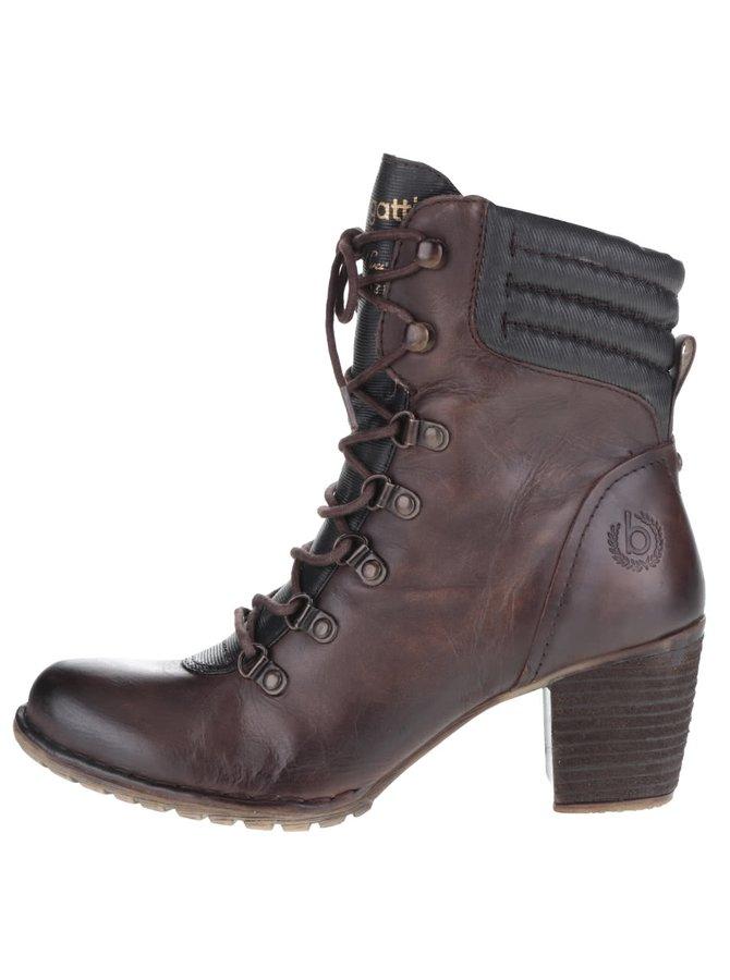 Hnědé dámské šněrovací kotníkové boty na podpatku bugatti Cathy Evo