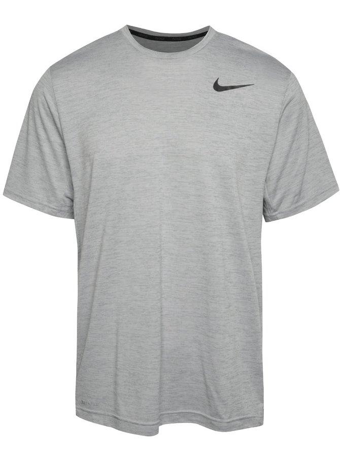 Šedé žíhané pánské triko Nike Dry